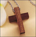 "Wood Cross Necklace on 24"" Chain"