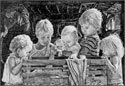 Children Gathered at the Manger Print - 8 x 10