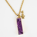 Druzy Quartz Necklace with LWML Charm