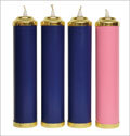 Complete Advent Tube Candles & Sleeves (3 Blue, 1 Rose)