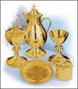 Traditional Brass Gold Lines Brass Chalice