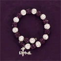 Purple and Crystal Beaded Memory Wire Bracelet with LWML Charm