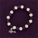 Purple and Crystal Beaded Stretch Bracelet with LWML Charm